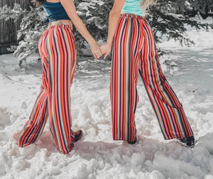 Striped Red Multi Color Pants