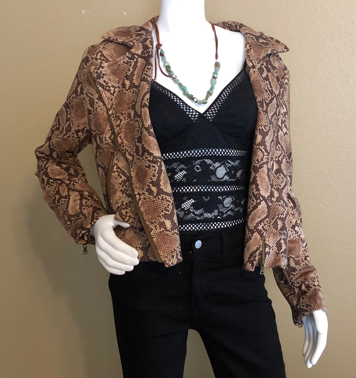 Brown Snake Print Jacket