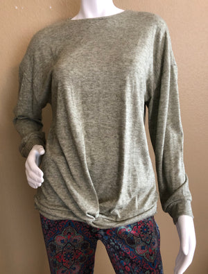 Light Olive Front Twist Sweater