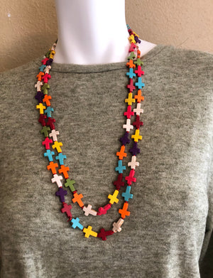 Multi Color Cross Shaped Necklace