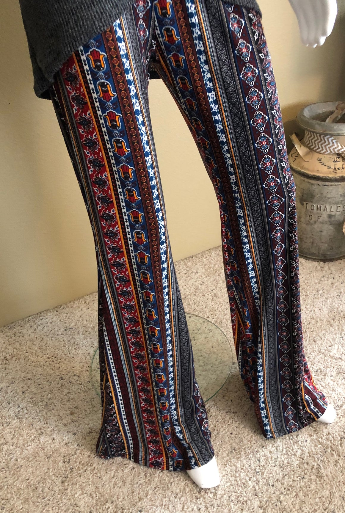 Cotton Striped Pattern Flare Pants