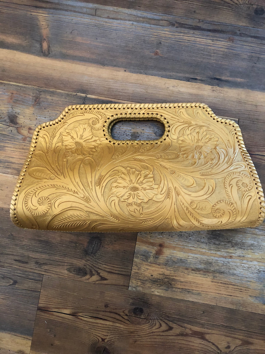Custom Leather Gold Clutch