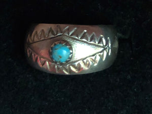 Aztec design Ring with Turquoise Stone- Size 9