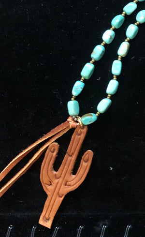 Leather Cactus on a Nevada Turquoise Necklace