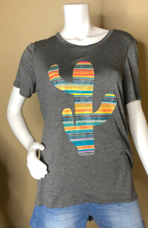 Sunset Striped Cactus T-Shirt