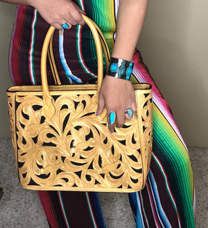Custom Duck Tooled Leather Tote