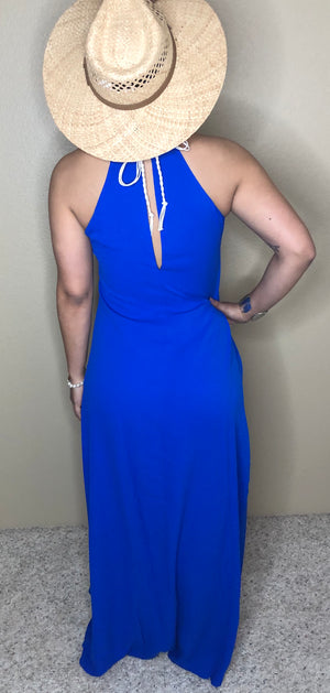 Cobalt Blue Long Dress with Crocheted Top