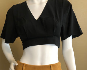 Bell Sleeve Black V-Neck Crop Top