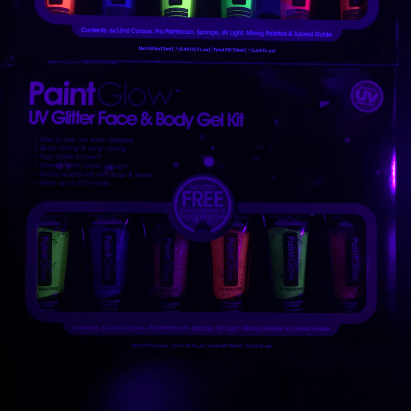 PaintGlow UV Glitter Face and Body Gel Kit
