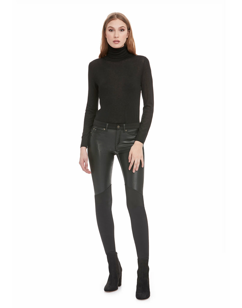 CLASSIC RISE / RACHEL SKINNY / BLACK PONTE VEGAN LEATHER