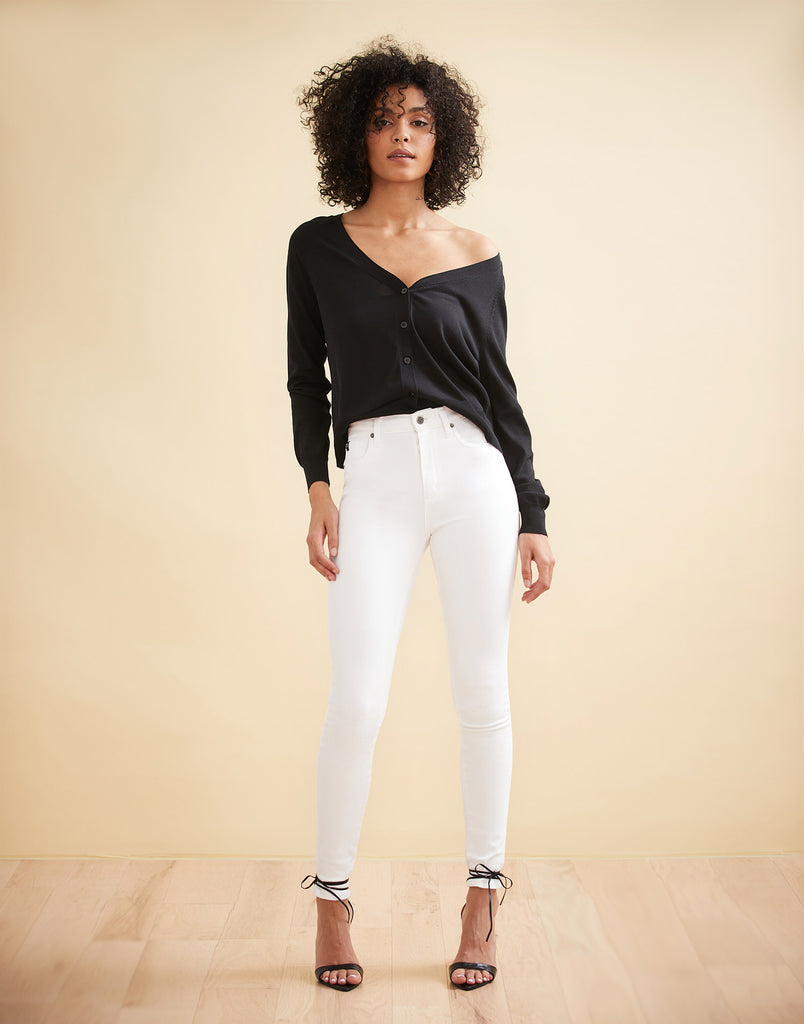 HIGH RISE / RACHEL SKINNY / WHITE / 30""