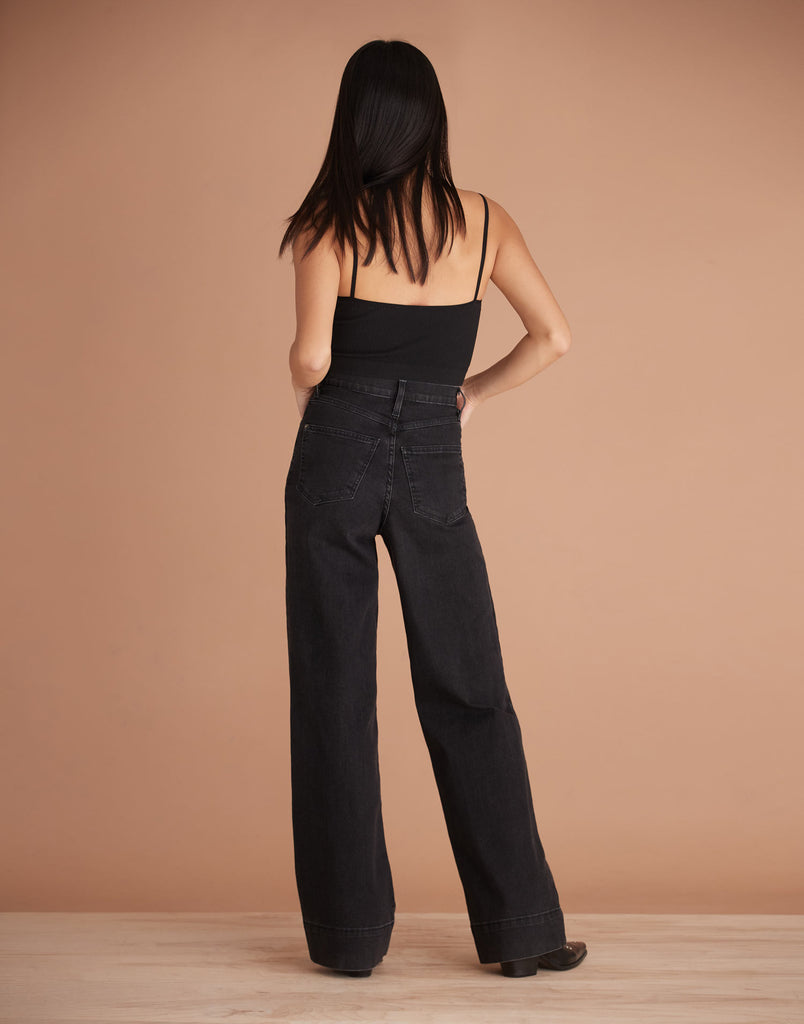 Black Charlotte High Rise Lily Wide Jeans Yoga Jeans