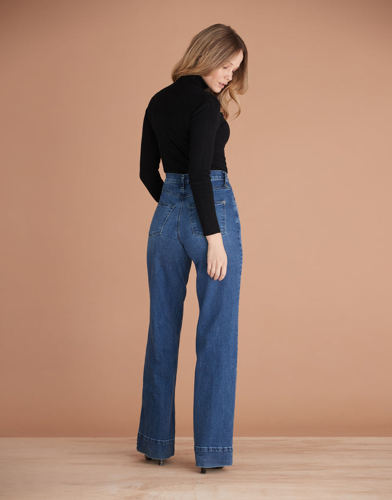 Blue Flare High Rise Lily Wide Jeans Yoga Jeans