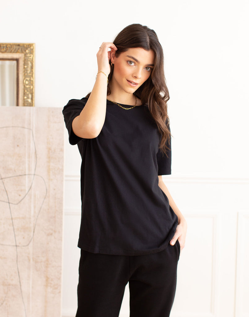 Black Oversized Boyfriend Tee Active Collection Yoga Jeans