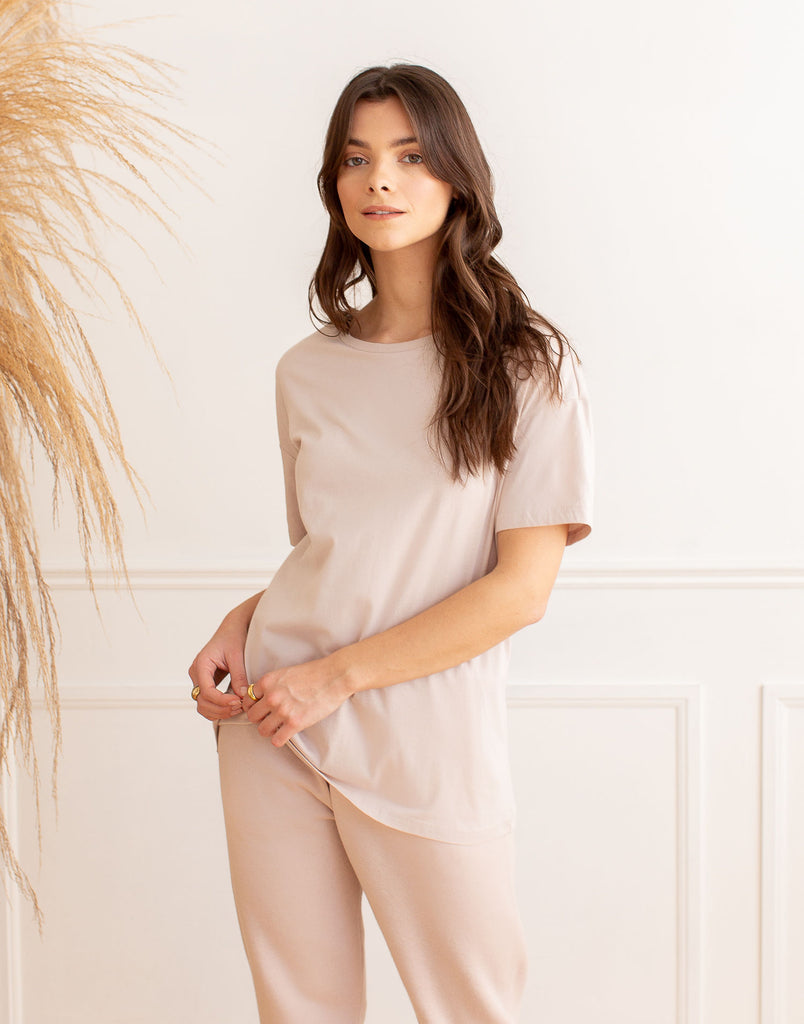 Dusty Rose Oversized Boyfriend Tee Active Collection Yoga Jeans