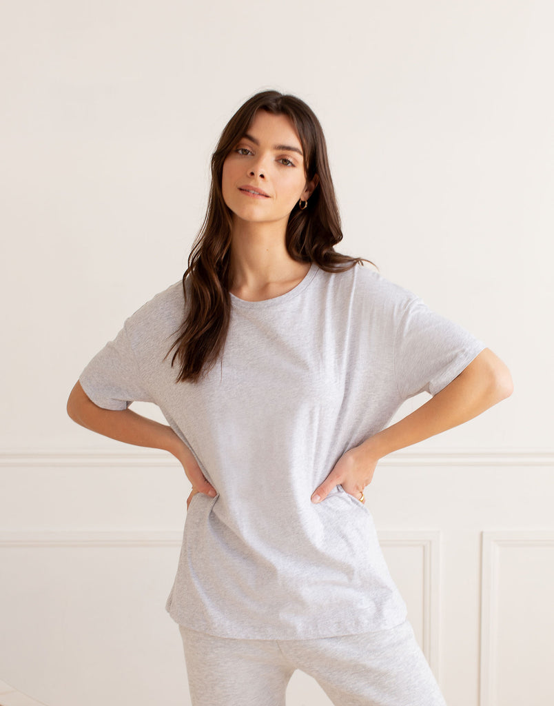 OVERSIZED BOYFRIEND TEE / GREY MIX