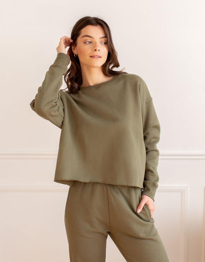 CROP SWEATSHIRT / GREEN KHAKI