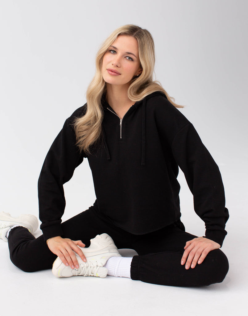 Black Crop Hoodie Zip Active Collection Yoga Jeans