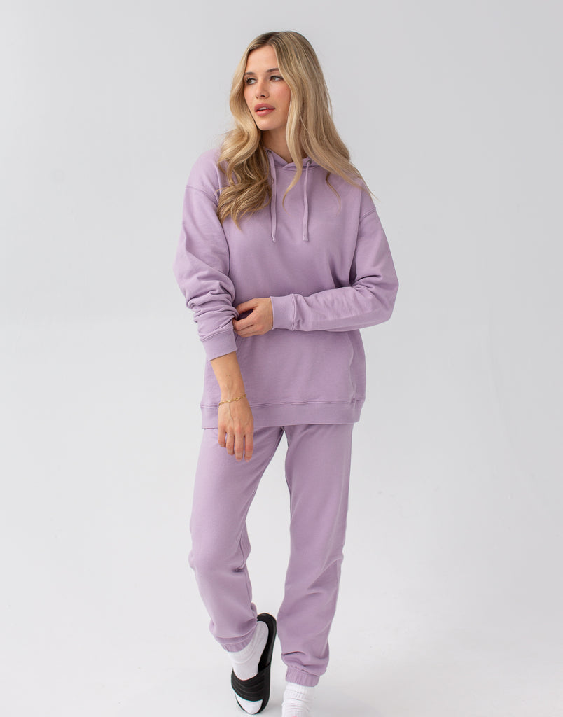 Lavender Oversized  Boyfriend Hoodie Active Collection Yoga Jeans