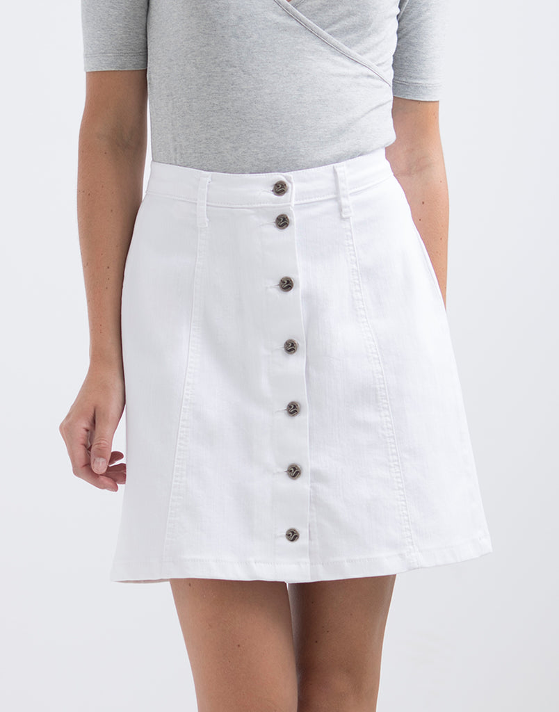 DENIM A-LINE BUTTON-UP SKIRT