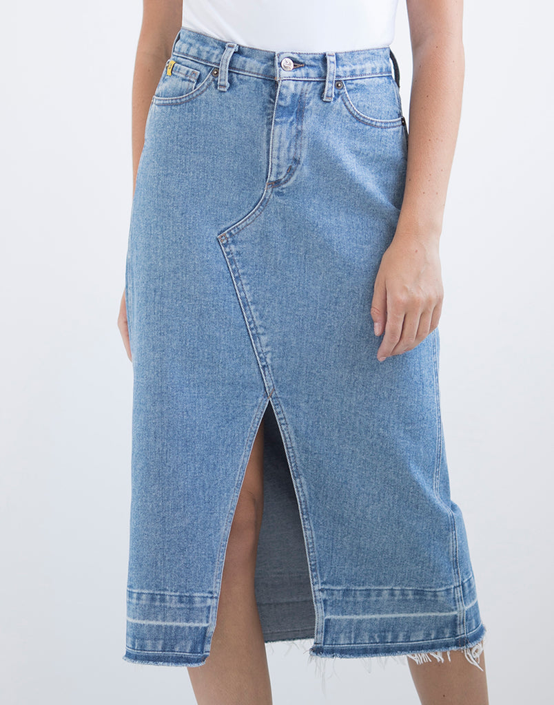 Denim A-Line Skirt with Front Slit Yoga Jeans