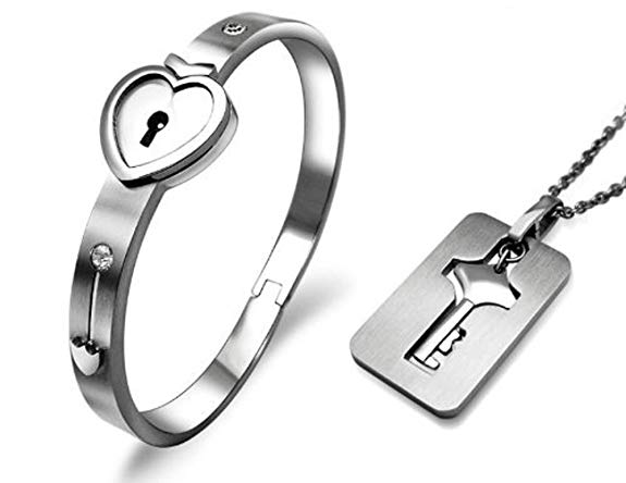 14514cc17 Titanium Stainless Steel Heart Lock Bracelet Key Pendant Necklace Coup -  cuzjewels
