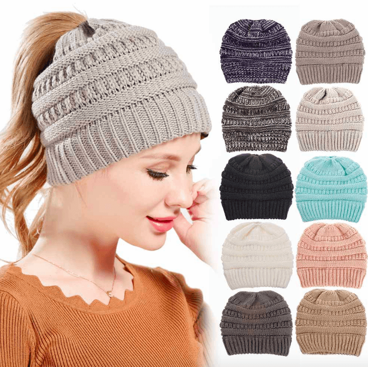 Ponytail Winter Beanie - LimeTrifle