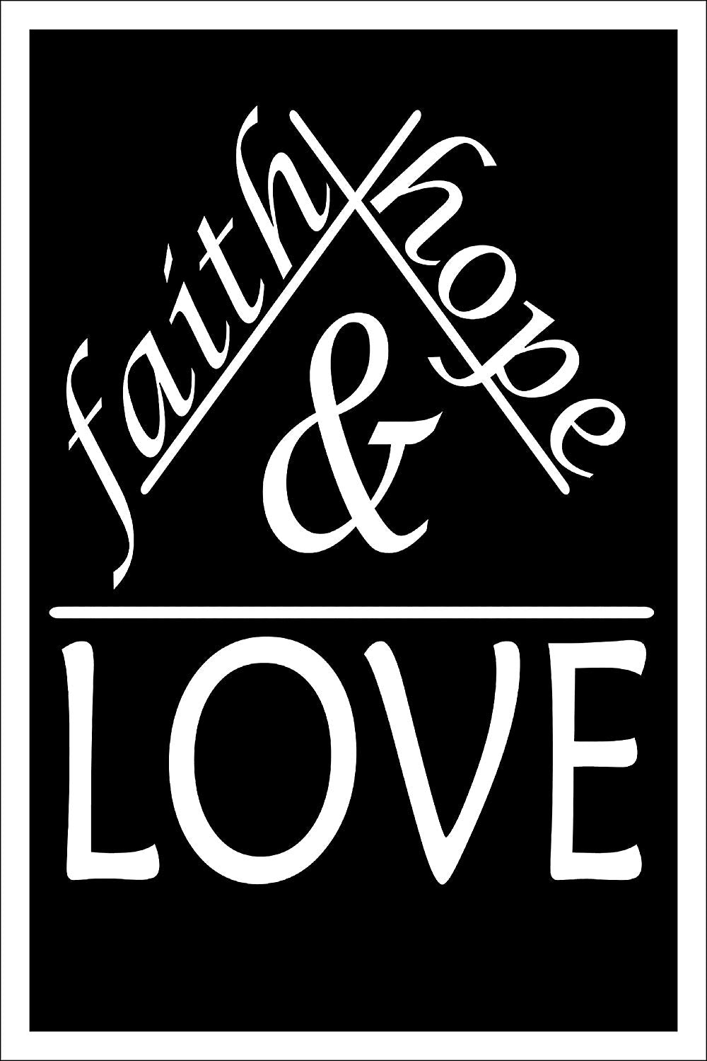 "Spitzy's Faith Hope and Love Religious Motivational Poster (12"" x 18"" Dimensions Include a White .5"" Border)"