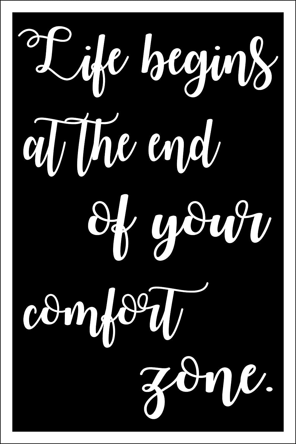 "Spitzy's Life Begins at The End of Your Comfort Zone - Motivational Poster (12"" x 18"" Dimensions Include a White .5"" Border)"