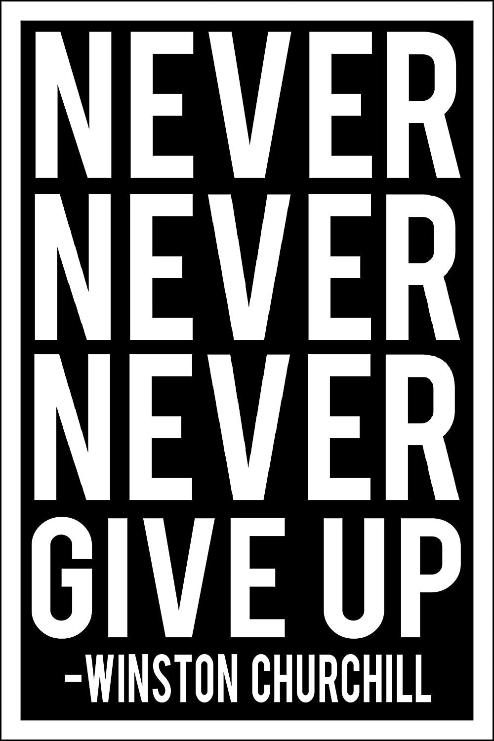"Spitzy's Never Never Never Give Up Motivational Poster (12"" x 18"" Dimensions Include a White .5"" Border)"