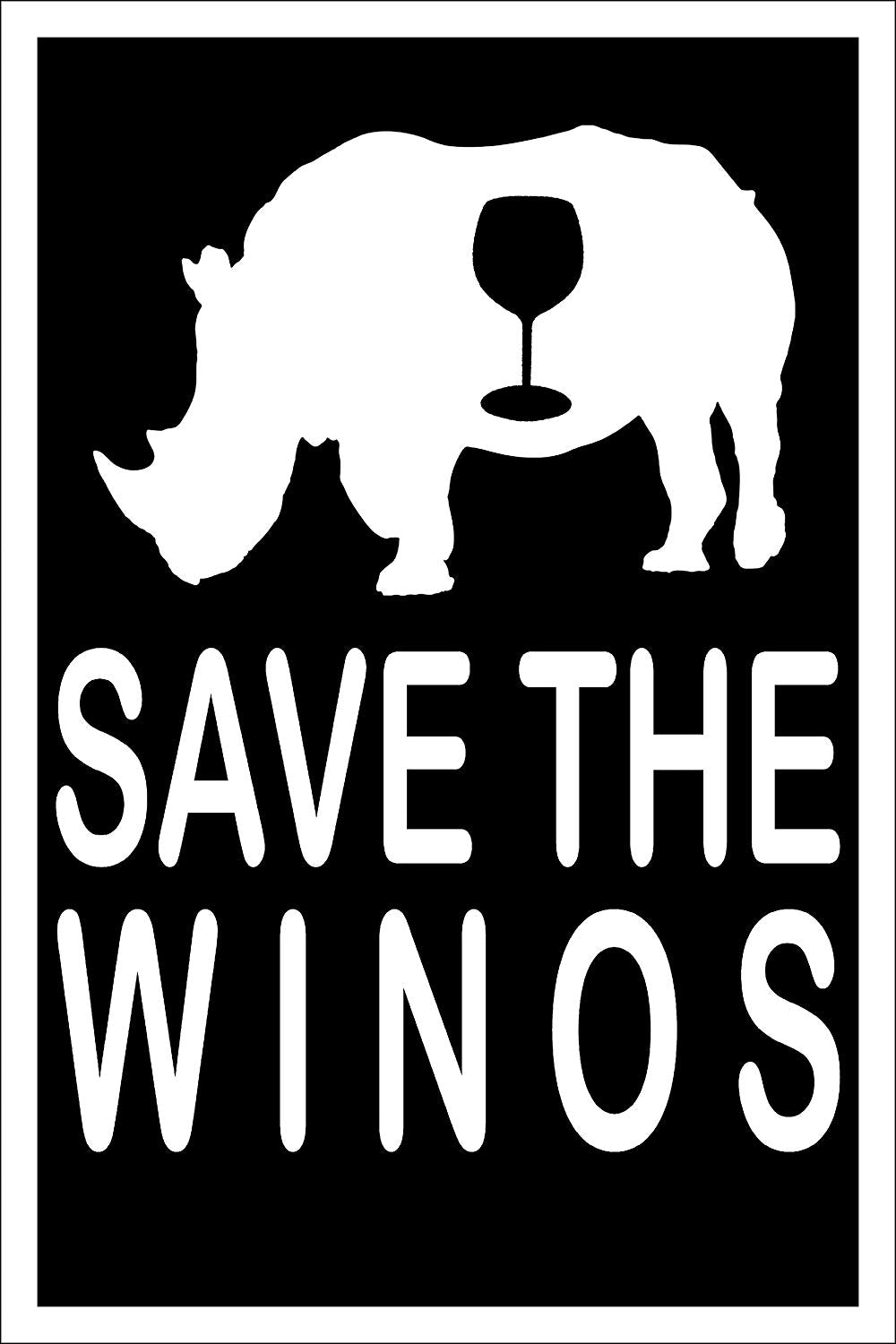 "Spitzy's Save The Winos Funny Wine Tasting Pun Poster for Home (12"" x 18"" Dimensions Include a White .5"" Border)"