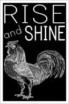 "Rise and Shine 12"" x 18"" Poster - Rooster Farm Animal Printed Wall Art for Kitchen, Home Bedroom, or Office"