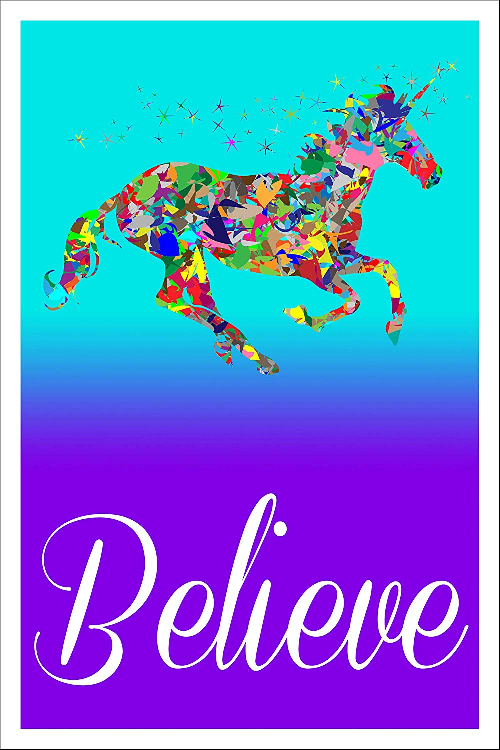 "Spitzy's Believe 12"" x 18"" Poster - Motivational and Inspirational Unicorn Wall Artwork"