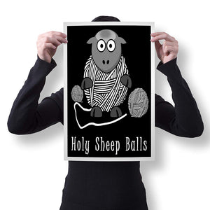 "Spitzy's Holy Sheep Balls 12"" x 18"" Poster - Funny Knitting and Crochet Gift Idea for Men and Women"