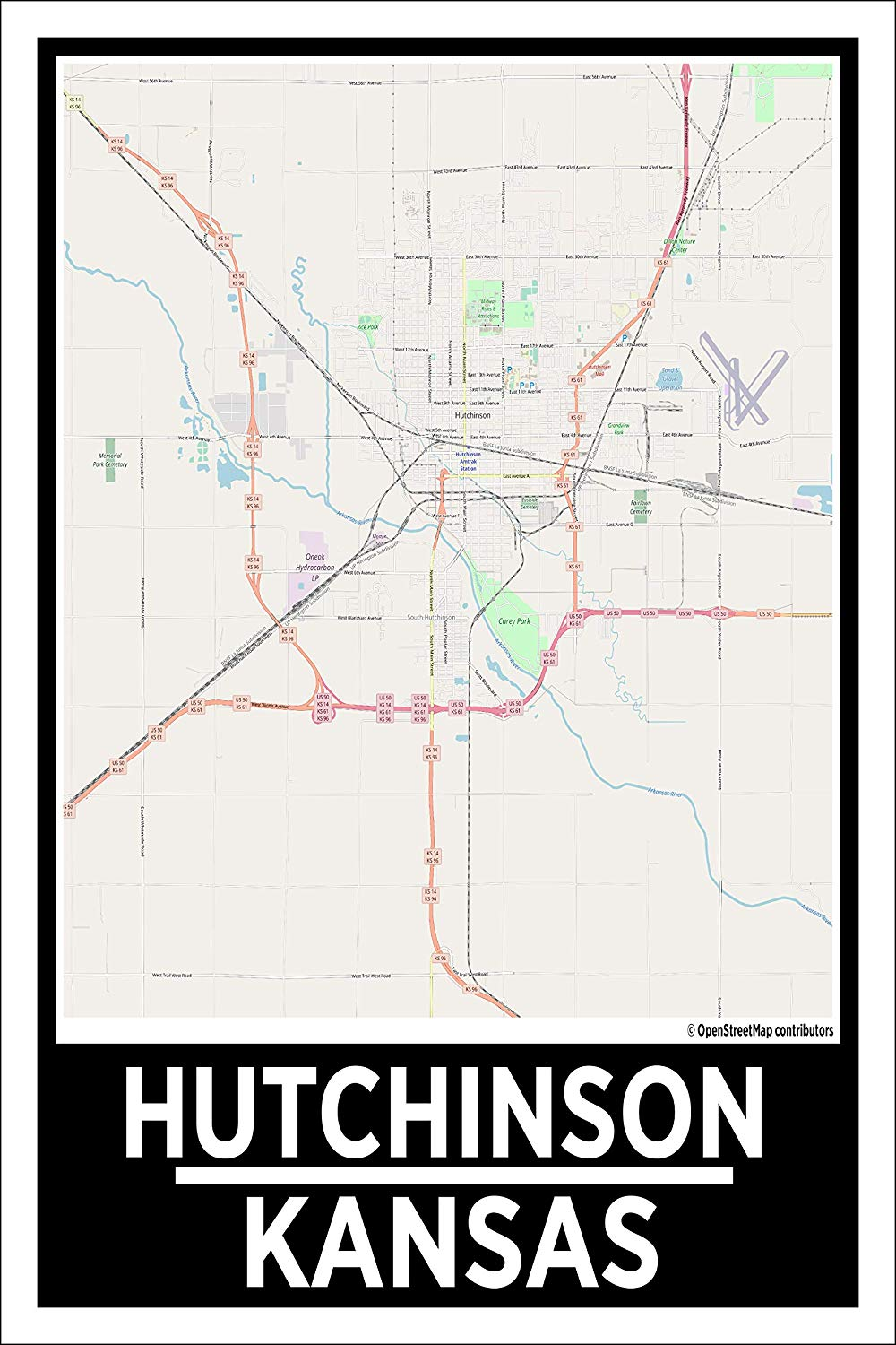 "Spitzy's Hutchinson Kansas Map Poster - Home Wall Art for Your Bedroom or Home Office - Map of Hutchinson, City Map Poster (12"" x 18"" Dimensions Include a White .5"" Border)"