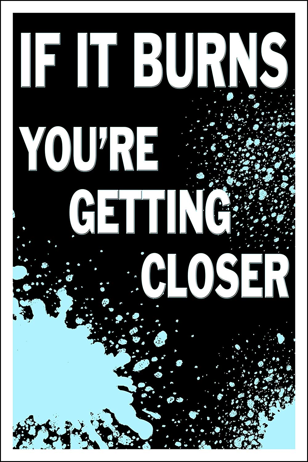 "Spitzy's If It Burns You're Getting Closer Motivational Fitness Workout Poster (12"" x 18"" Dimensions Include a White .5"" Border)"