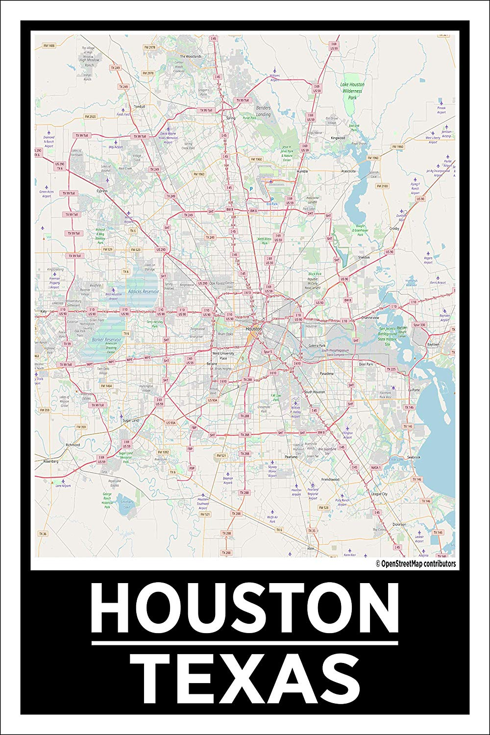 "Spitzy's Houston Texas Map Poster - Home Wall Art for Your Bedroom or Home Office - Map of Houston, City Map Poster (12"" x 18"" Dimensions Include a White .5"" Border)"
