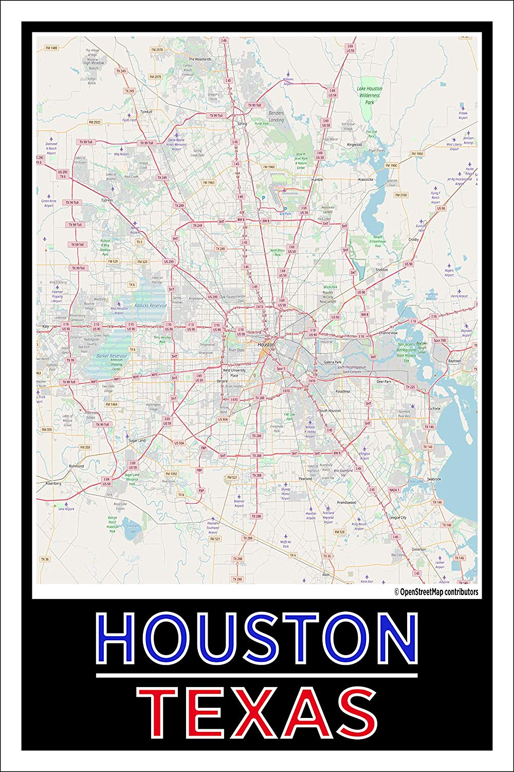 "Spitzy's Houston Texas Colored Map Poster - Home Wall Art for Your Bedroom or Home Office - Map of Houston, City Map Poster (12"" x 18"" Dimensions Include a White .5"" Border)"