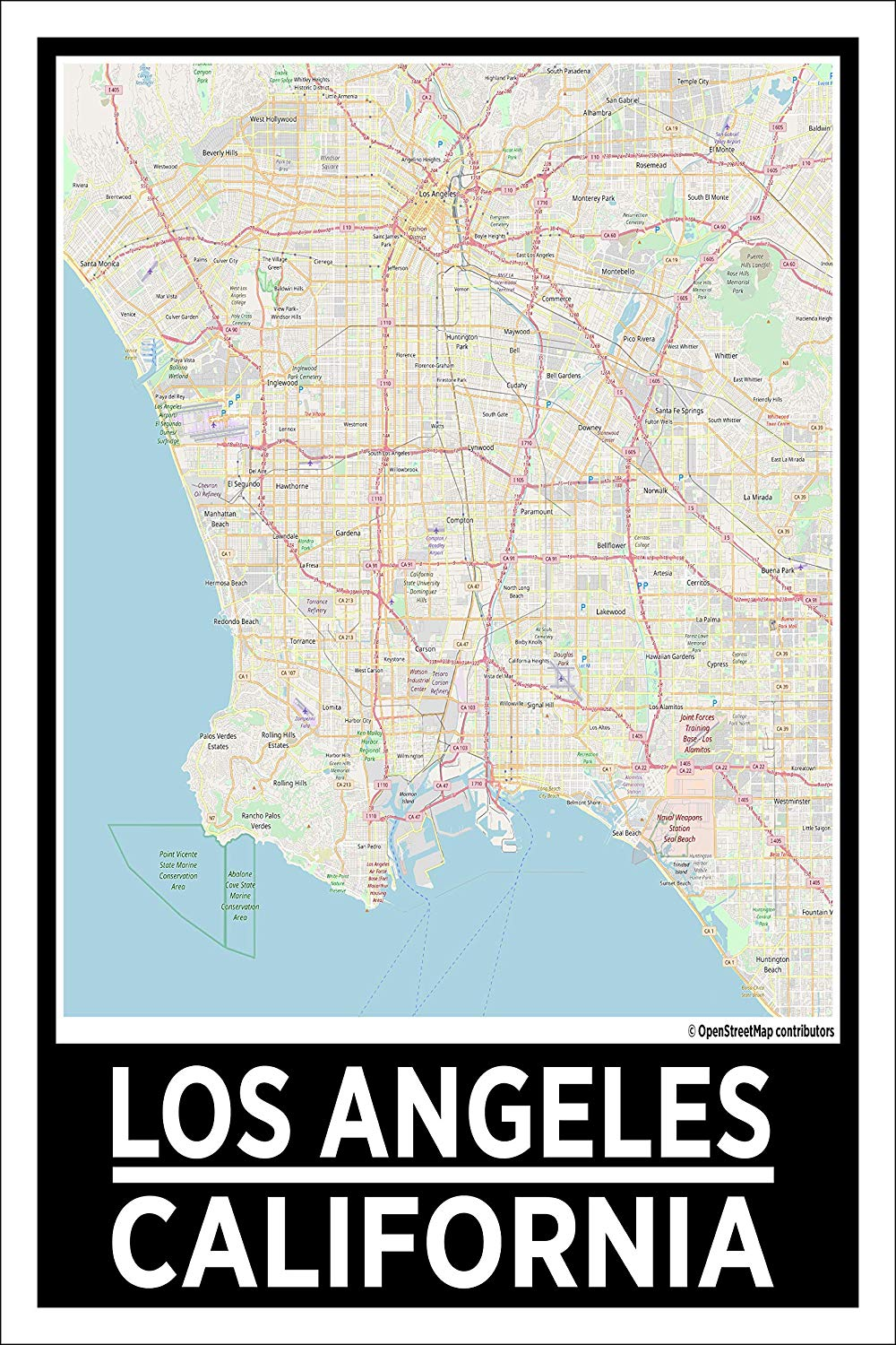 "Spitzy's Los Angeles California Map Poster - Home Wall Art for Your Bedroom or Home Office - Map of Los Angeles, City Map Poster (12"" x 18"" Dimensions Include a White .5"" Border)"