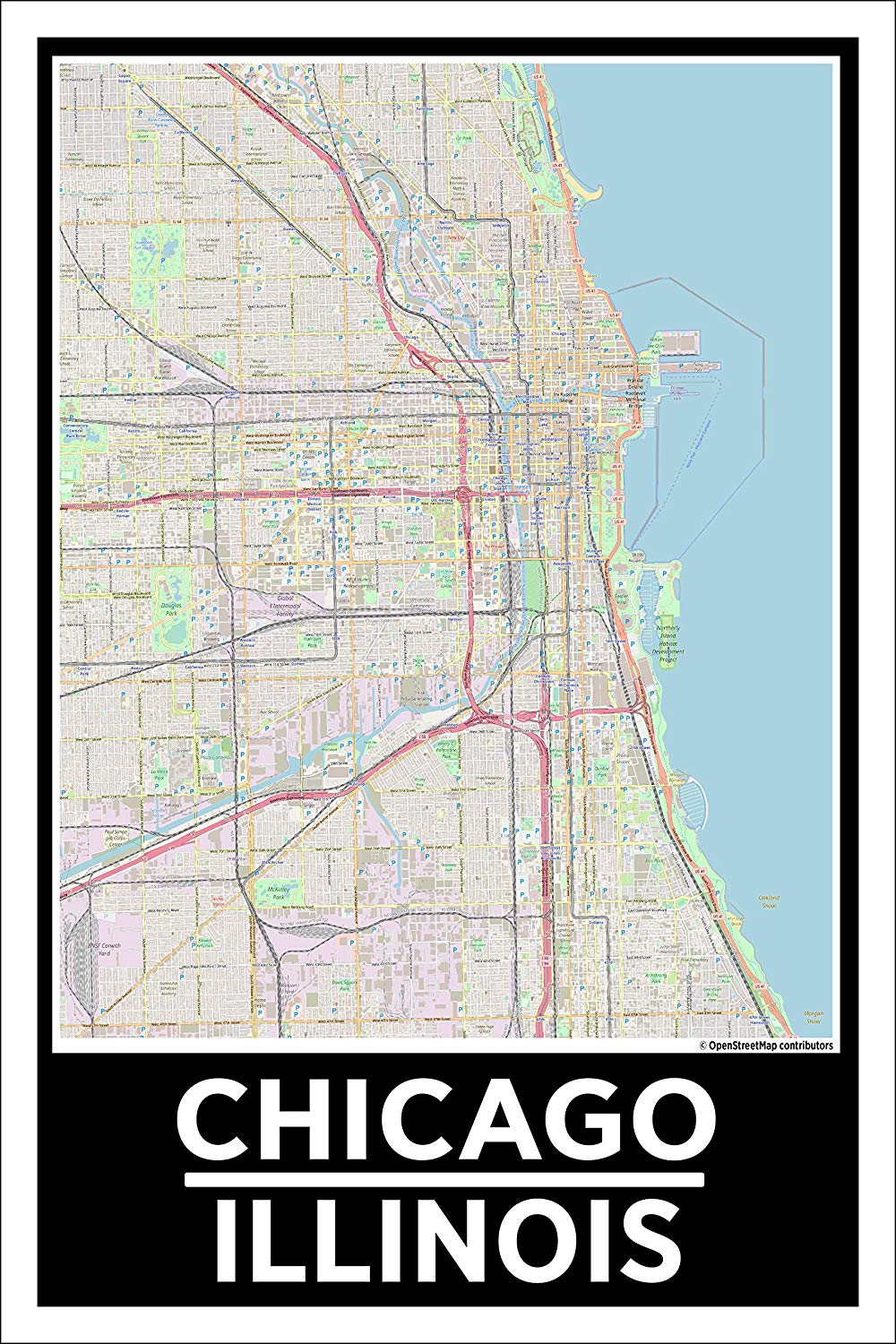 "Spitzy's Chicago Illinois Map Poster - Home Wall Art for Your Bedroom or Home Office - Map of Chicago, City Map Poster (12"" x 18"" Dimensions Include a White .5"" Border)"