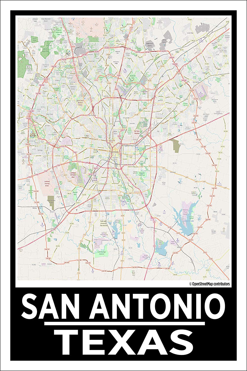 "Spitzy's San Antonio Texas Map Poster - Home Wall Art for Your Bedroom or Home Office - Map of San Antonio, City Map Poster (12"" x 18"" Dimensions Include a White .5"" Border)"