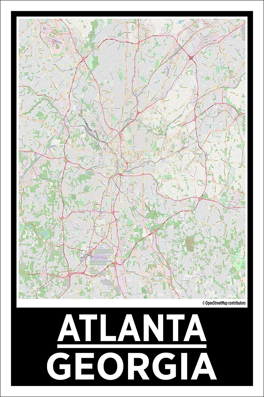"Spitzy's Atlanta Georgia Map Poster - Home Wall Art for Your Bedroom or Home Office - Map of Atlanta, City Map Poster (12"" x 18"" Dimensions Include a White .5"" Border)"