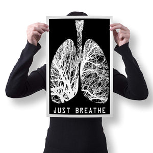 "Spitzy's Just Breathe 12"" x 18"" Poster - Printed Wall Art for Science Anatomy Teachers and Nurses - Motivational and Inspirational Printed Poster"