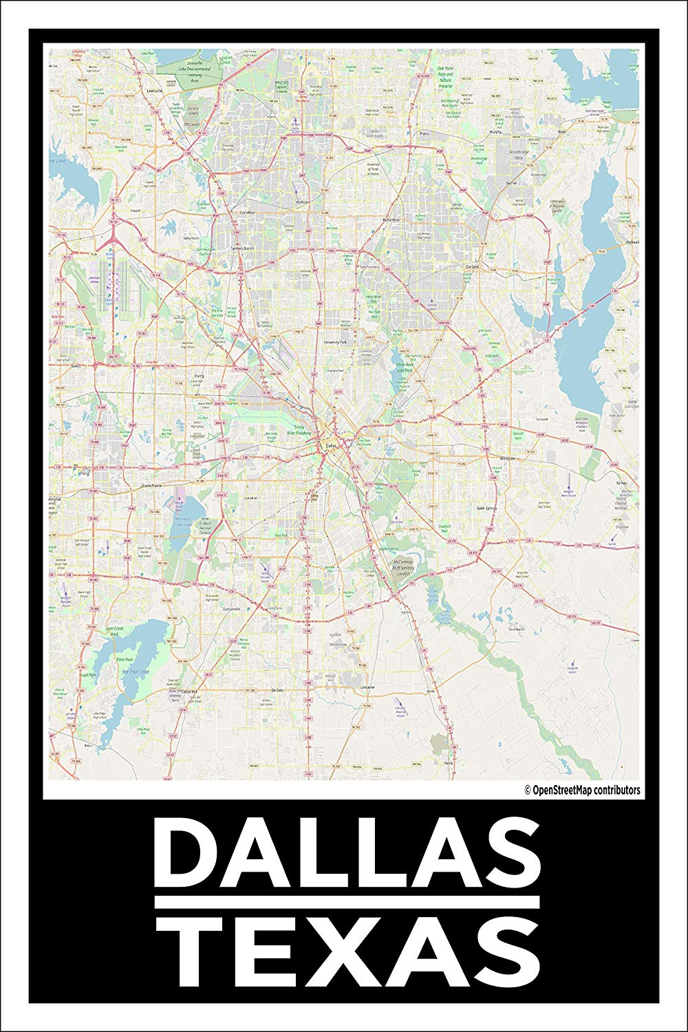 "Spitzy's Dallas Texas Map Poster - Home Wall Art for Your Bedroom or Home Office - Map of Dallas, City Map Poster (12"" x 18"" Dimensions Include a White .5"" Border)"