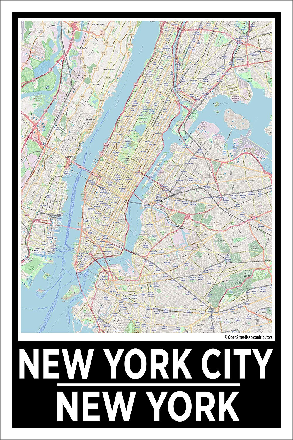 "Spitzy's New York City New York Map Poster - Home Wall Art for Your Bedroom or Home Office - Map of New York City, City Map Poster (12"" x 18"" Dimensions Include a White .5"" Border)"
