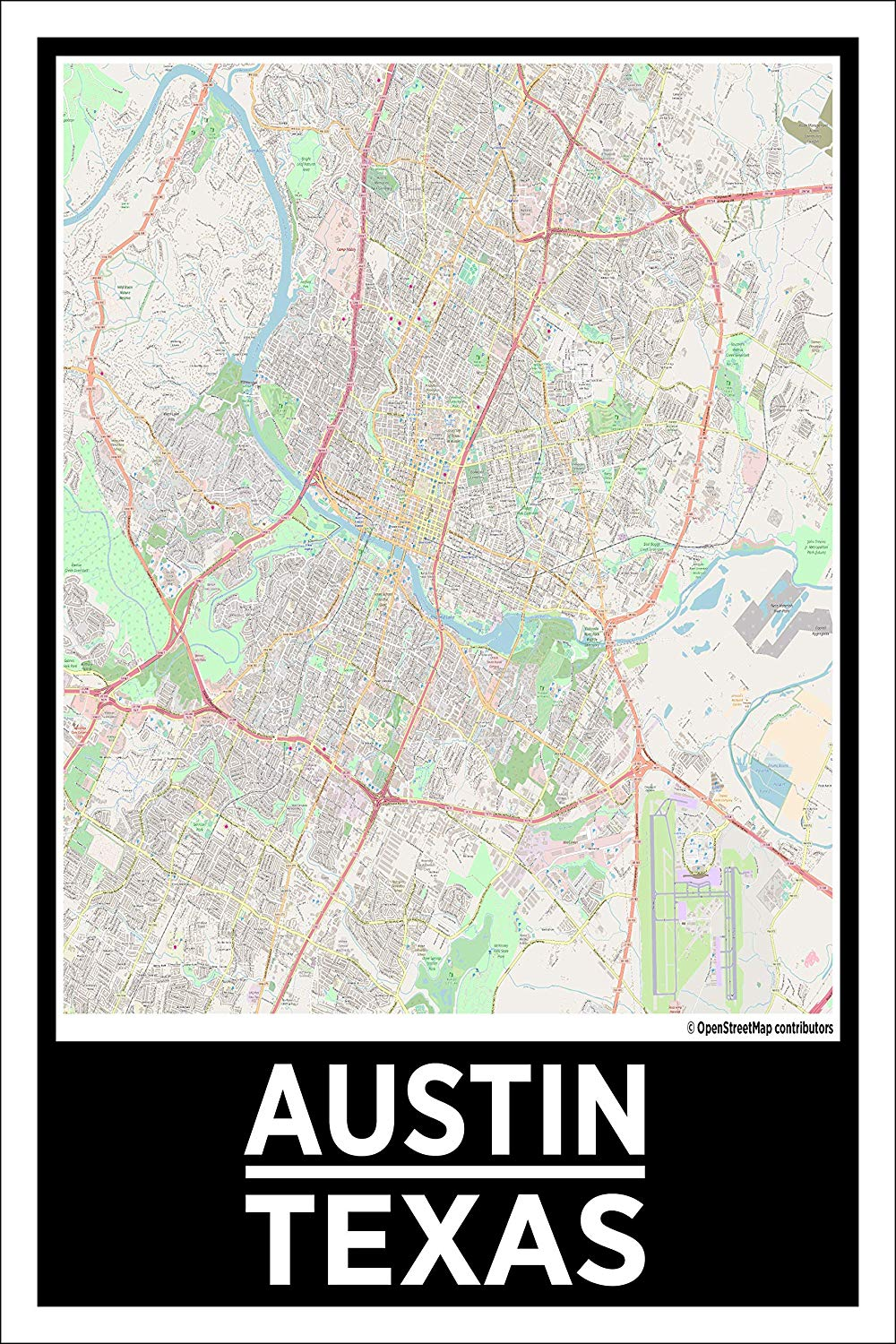 Spitzy's Austin Texas City Map 12 x 18 inch Poster - Home Wall Art for Your Home Bedroom, Office, or Dorm Room - Great Gift Idea to Men and Women