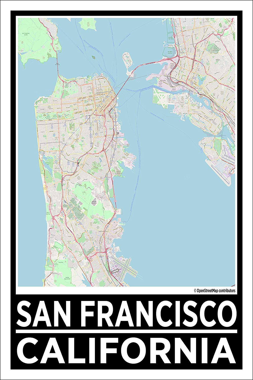 "Spitzy's San Francisco California Map Poster - Home Wall Art for Your Bedroom or Home Office - Map of San Francisco, City Map Poster (12"" x 18"" Dimensions Include a White .5"" Border)"