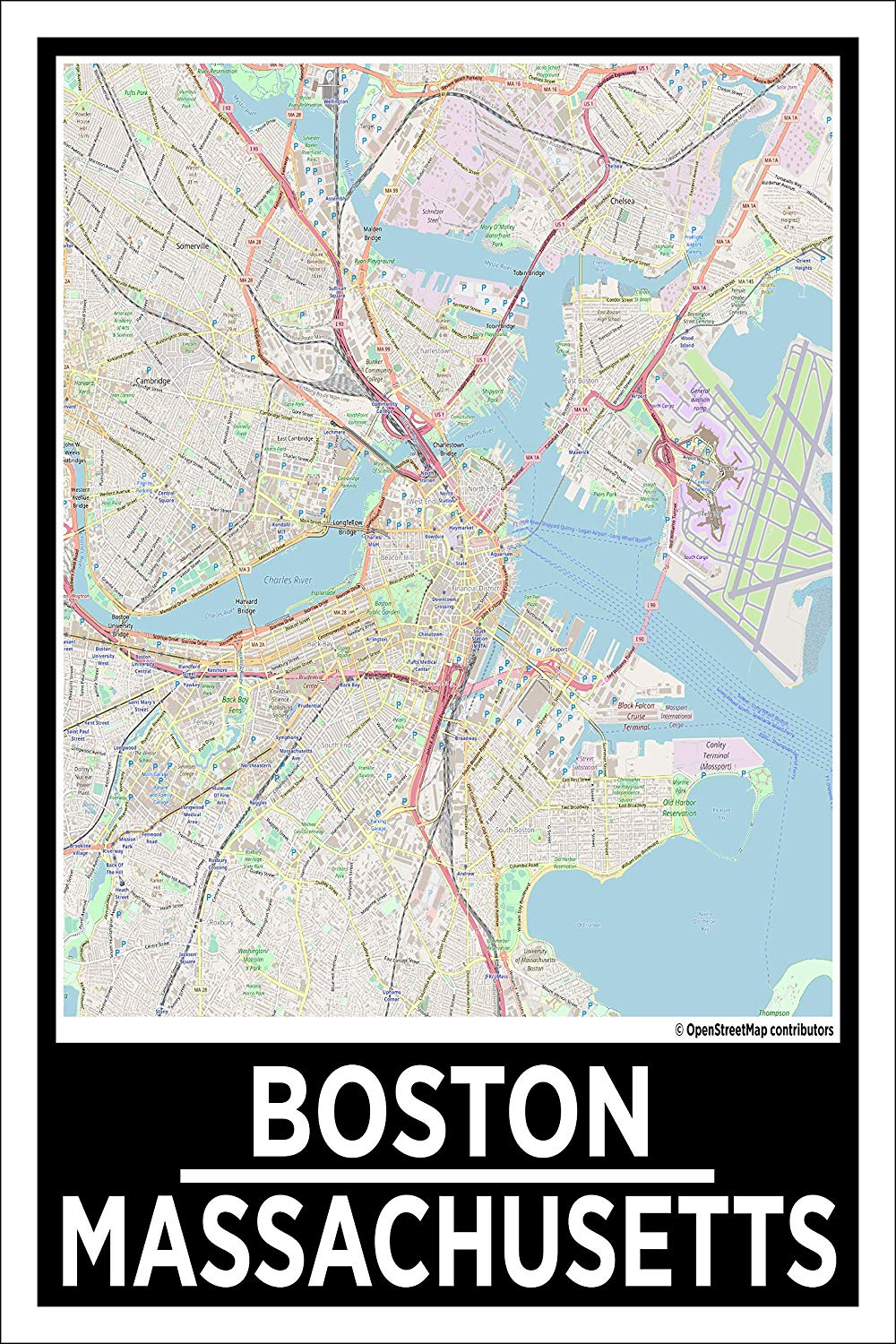 "Spitzy's Boston Massachusetts Map Poster - Home Wall Art for Your Bedroom or Home Office - Map of Boston, City Map Poster (12"" x 18"" Dimensions Include a White .5"" Border)"