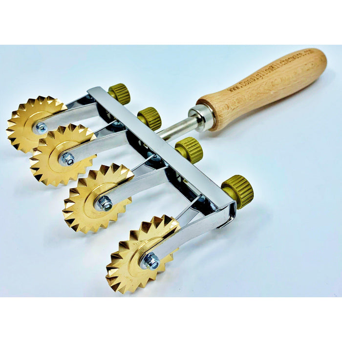 Brass Adjustable Fluted Pastry and Pasta Cutter with 4 Wheels USA