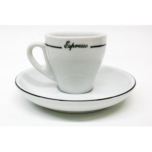 Armand Lebel 12 Piece Espresso Cup & Saucer Set - Plain White w/ Line Design-Espresso Machines,Tabletop-us-consiglios-kitchenware.com-Consiglio's Kitchenware-USA